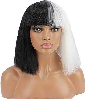 WeKen Halloween Wig Women Short Bob Kinky Straight Full Bangs Synthetic Black and White
