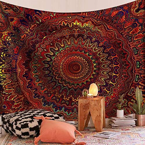 WERT Tapiz de Mandala Indio montado en la Pared, Alfombra de Playa, Manta, Alfombra de Dormir Bohemia, Tapiz de Fondo, Tela A17 150x200cm