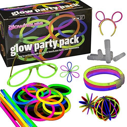 The Glowhouse UK - Premium-Leuchtstäbe - 228-teiliges Partyset mit 100 Leuchtstäben für leuchtende Stäbe, Armbänder, Ketten, Brillen, dreireihige Armbänder, Hasenohren, Bälle, Blumen und viel mehr