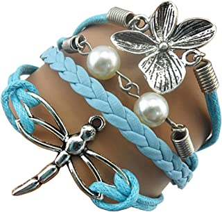 Ac Union Handmade Cute Infinity Tortoise Angel Wings Owl Butterfly Anchor Brids Heart Best Friend Charm Friendship Gift Leather Bracelet