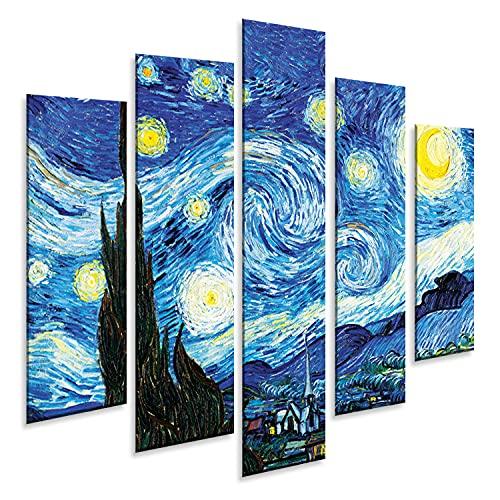 Giallobus - 5 Panel múltiple Art Board - Vincent Van Gogh - Noche Estrellada - Panel...