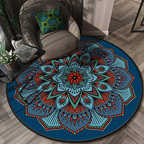 Topinged Round Bohemian Area Rug Navy Blue Floral Style,for Living Room Bedroom Kitchen Chair Mat Kids Room Christmas Washable-Diameter 120CM