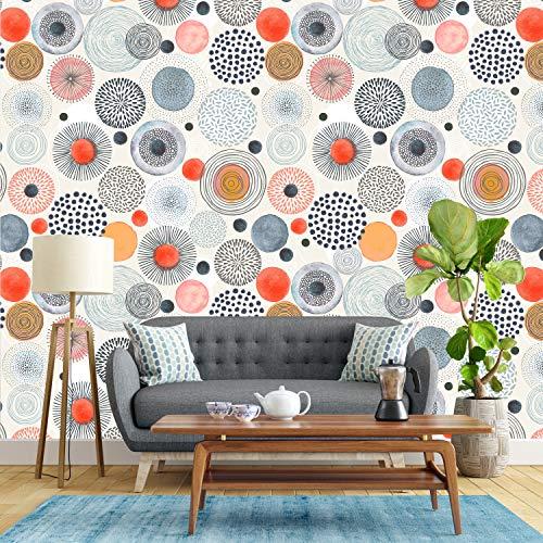 colorMEwalls Grey Orange Watercolor Circle Shapes - Peel and Stick Removable Wallpaper (24' W x 96' H)