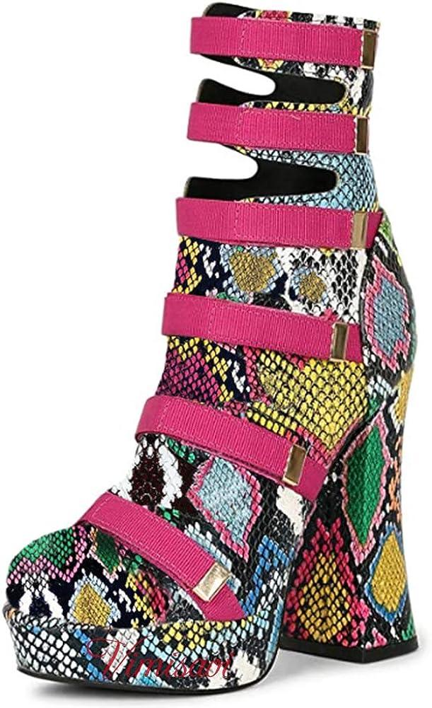 VIMISAOI Platform Ankle Booties for H Chunky Ranking Atlanta Mall TOP10 High Fashion Women