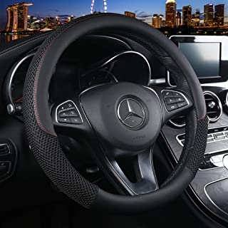 ZHOL Universal 15 inch Steering Wheel Cover Microfiber Leather and Viscose, Breathable, Anti-Slip, Odorless, Warm in Winter and Cool in Summer, Black