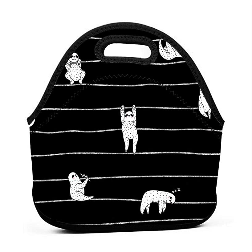 Jake Fashion Shop Neoprene Portable Lunch Bag Carry Case Tote with Zipper Box Cooler Container Bags Picnic Outdoor Travel Fashionable Handbag Pouch for Women Men Kids Girls Sloth Stripe