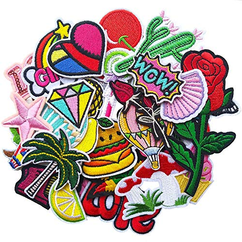 Qingxi Charm 32pcs Assorted Colorful Sweet Cool Sewing on/Iron on Embroidered Patches Clothes Dress Hat Pants Shoes Curtain Sewing Decorating DIY Craft Embarrassment Applique Patches
