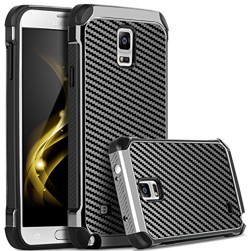 BENTOBEN Galaxy Note 4 Case, Note 4 Case, 2 in 1 Hybrid Hard PC Soft TPU Bumper Carbon Fiber Texture Shockproof Protective Case for Samsung Galaxy Note 4, Gray/Black