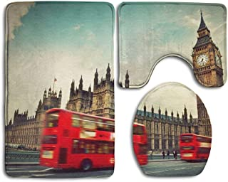 BeautyToiletLidCoverABC London The UK Red Bus in Motion and Big Ben The Palace of Westminster The Icons of England in Bathroom Rug 3 Piece Bath Mat Set Contour Rug and Lid Cover