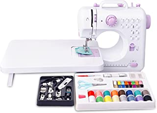Congerate 12 Stitches Mini Electric Sewing Machine Multifunction Household Double Thread Double Speed with 11pcs Presser Foot Set and 42-in-1 Sewing Tools Kit Needlework Box Set and Extension Table