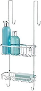 InterDesign Gia Over Shower Door Caddy - Bathroom Storage Shelves for Shampoo, Conditioner and Soap, Polished Stainless Steel