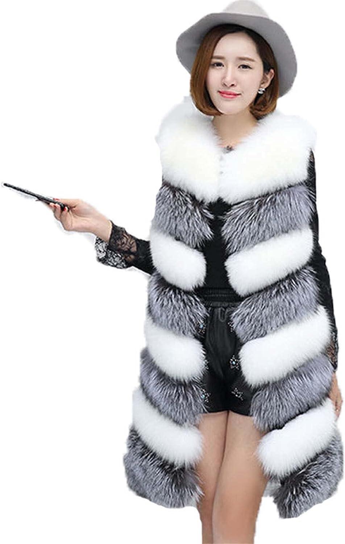 JOEupin Women Faux Fur Vest Coat Luxury Fox Fur Coat Jackets Winter Warm Fur Vest