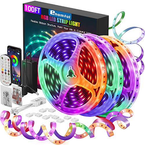 Ehomful Led Strip Lights 100 Feet,Ultra Long App Control Led Light Strips with Remote,Led Lights for Bedroom,Music Color Changing for Room,Home and Kitchen Decoration Delaware
