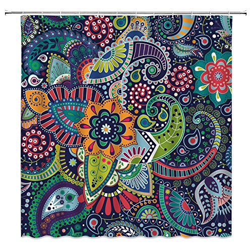 Paisley Duschvorhang, grüner Boho, Paisleymuster, Mandala-Damast, abstrakt, Vintage, indische Wirbel, tropfenförmig, Ethno-Stil, Kunstblumen-Stoff, Badezimmer-Vorhang, 177,8 x 177,8 cm