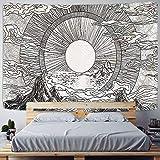 KHKJ Sol y Luna Tapiz de Mandala en Blanco y Negro Colgante de Pared Tapiz Celestial Tapiz Dormitorio decoración psicodélica A13 95x73cm