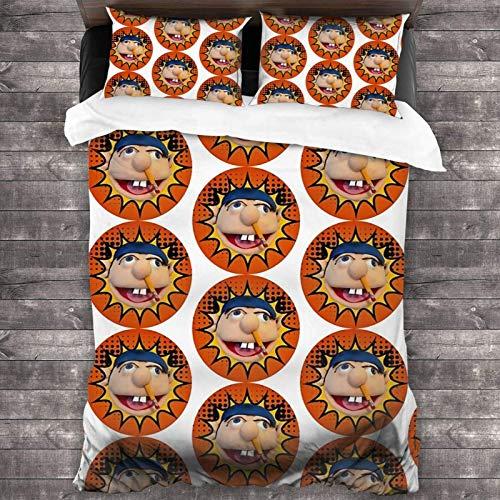 Juego de ropa de cama de 3 piezas de 218 x 177 cm, Sml Jeffy cálido colcha y juego de edredón con 2 fundas de almohada suaves impresas para habitación de invitados de los niños.