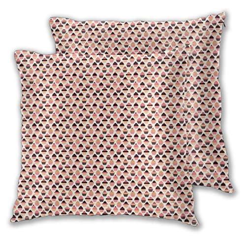 FULIYA Funda de cojín decorativa con diseño de magdalenas hinchadas con salpicado de colores crema batida en la parte superior, fundas de almohada de 40,6 x 40,6 cm con cremallera.