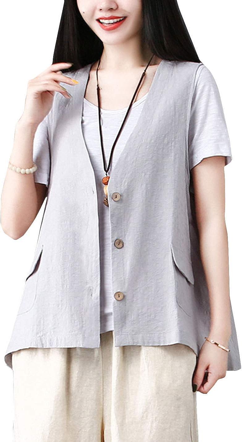 Flygo quality assurance Women's Manufacturer regenerated product Loose Cotton Linen Vest Sleeveless Button Bla Down