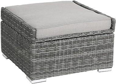 greemotion Pouf de jardin en résine tressée Bari – Pouf extérieur imperméable avec fonction table basse – table basse modulab
