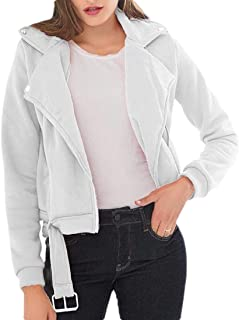 Womens Long Sleeve Faux Leather Oblique Zipper Moto Biker Short Coat Jacket