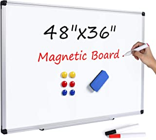 T-SIGN Magnetic Dry Erase Whiteboard 48 x 36 Inch, 4 x 3 Large White Board, Silver Aluminum Frame Wall-Mounted, Magnetic E...