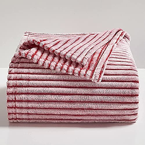 BEDELITE Fleece Throw Blankets Twin Size for Couch & Bed, Red and White Blankets Striped - Plush, Fluffy, Fuzzy, Cozy - Super Soft & Warm Spring Throw Blanket