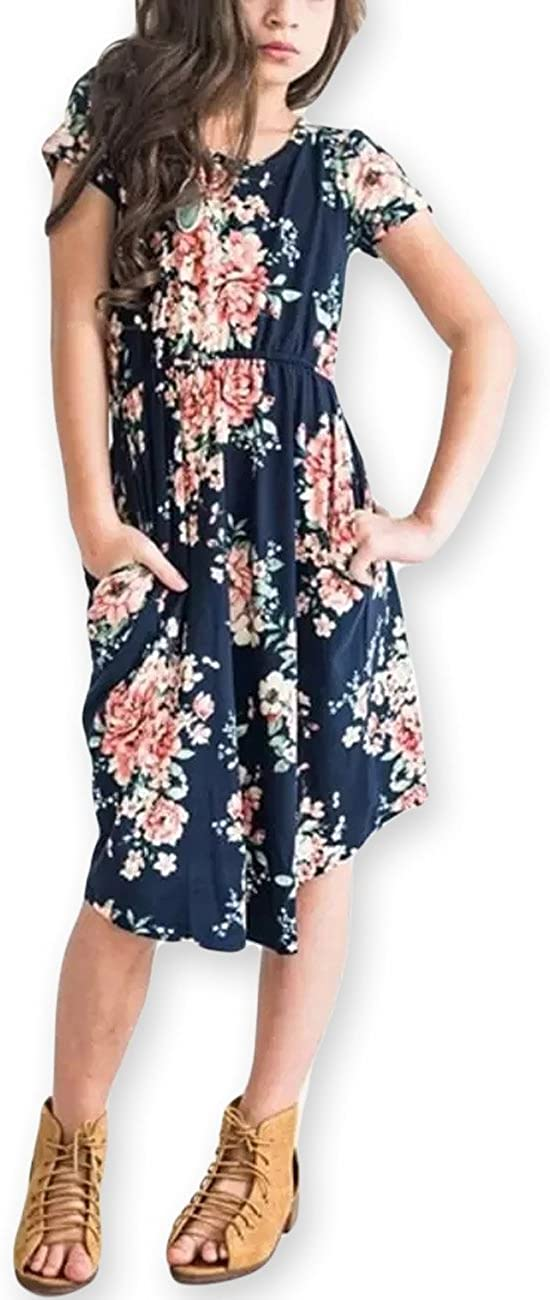 21KIDS Girl Maxi Dress Kids Floral Casual 3/4 Sleeve Dresses with Pocket for Girls 6-12T