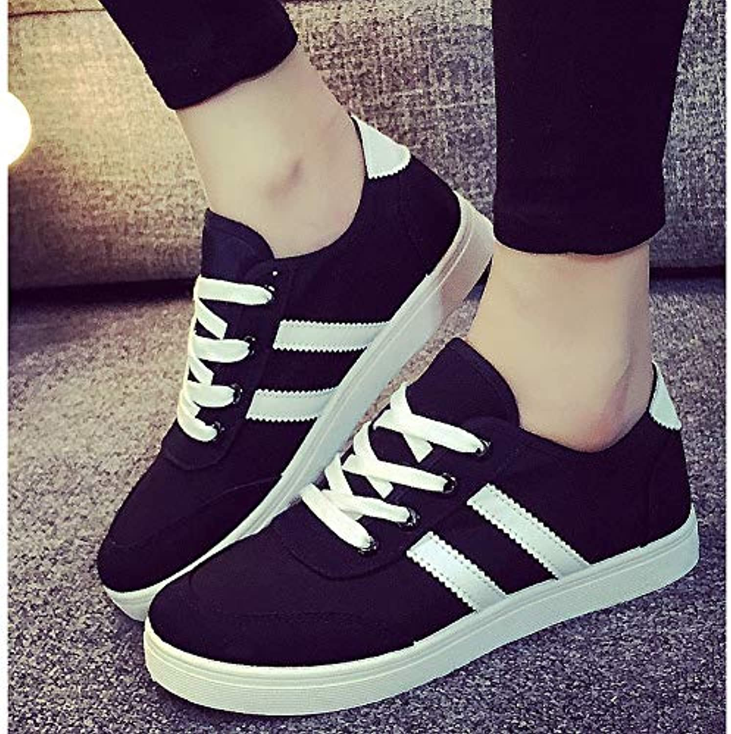 Women's shoes Canvas Fall Comfort Sneakers Flat Heel White Black