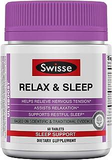 Swisse Ultiboost Relax & Sleep Supplement | Herbal Based Bedtime Sleep Aid | Magnesium, Lemon Balm, Passionflower | 60 Tab...