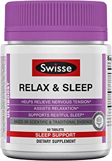 Swisse Ultiboost Relax & Sleep Supplement | Herbal Based Bedtime Sleep Aid | Magnesium, Lemon Balm, Passionflower | 60 Tablets