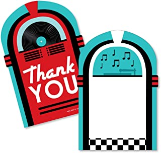 50's Sock Hop - Shaped Thank You Cards - 1950s Rock N Roll Party Thank You Note Cards with Envelopes - Set of 12