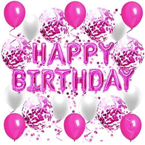 Geburtstagsdeko, Happy Birthday Ballon in Pink, Geburtstagsballon, Happy Birthday Girlande, Deko Geburtstag Fuchsia