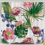 Rideau de douche, rideau de douche pour enfants, fan de banane feuilles Roses aquarelle Design floral Funky Texture de tissu Hipster Textile fond peint décor étanche Set de salle de bain avec crochets