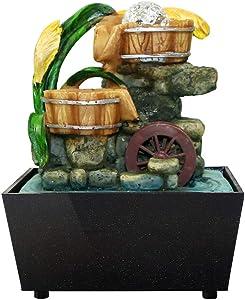 MAIAMY Fuente Zen Garden Sculpture con Rotary Ball Waterfall Natural para la decoración del hogar