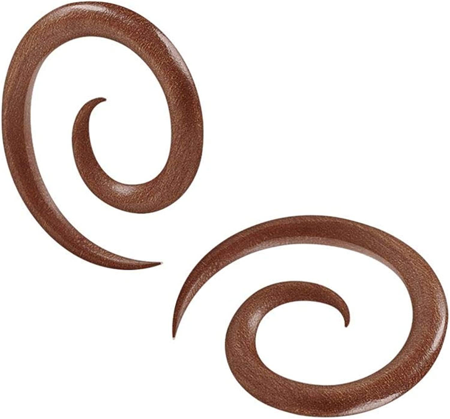 BanaVega 2PCS Flesh Sawo Wood Taper Ear Coil Spiral Earrin Special price for a limited time Overseas parallel import regular item