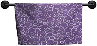 Wholesale Towel W 24 x L 8(inch) Charming and Durable and Absorbent Towel,Mauve,Abstract Geometrical Linked Circles in Many Sizes Fractal Diameter Rings Print,Violet White