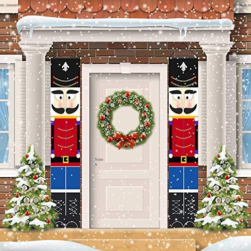 Nussknacker Weihnachten Dekoration Banner, Neujahr Outdoor Indoor Weihnachtsdekoration Willkommen Dekor Soldat Modell Banner für Haustür Veranda Garten Indoor Kinder Party Urlaub Dekoration