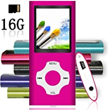 Tomameri - Portable MP3 / MP4 Player with Rhombic Button, Including a 16 GB Micro SD Card and Support Up to 64GB, Compact Music, Video Player, Photo Viewer Supported - White-and-Pink