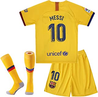 2019-2020 Season Barcelona Messi for Kids Youth Away #10 Soccer T Shirt Shorts Socks Yellow