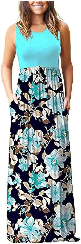 Summer Dresses for Women 2021, Women's O-Neck Floral Strap Summer Casual Swing Dress Longuette Dress Sundress Cocktai