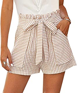 Miracle Womens Shorts High Waisted Striped Elastic Waist Summer Shorts with Belts