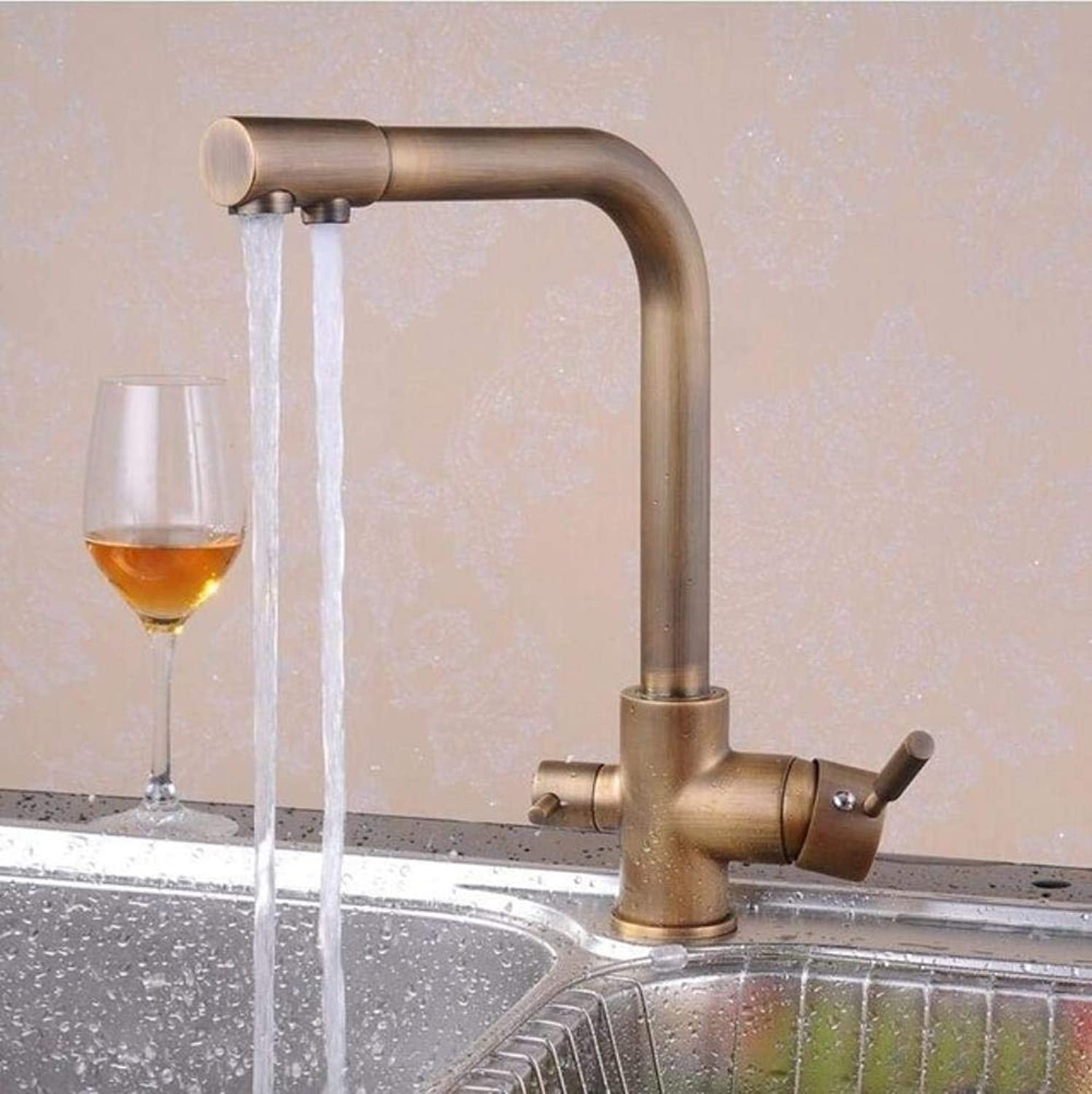 Kai&Guo 3 ways kitchen sink faucet of hot cold filter kitchen water mixer tap with chrome kitchen filter tap,Red