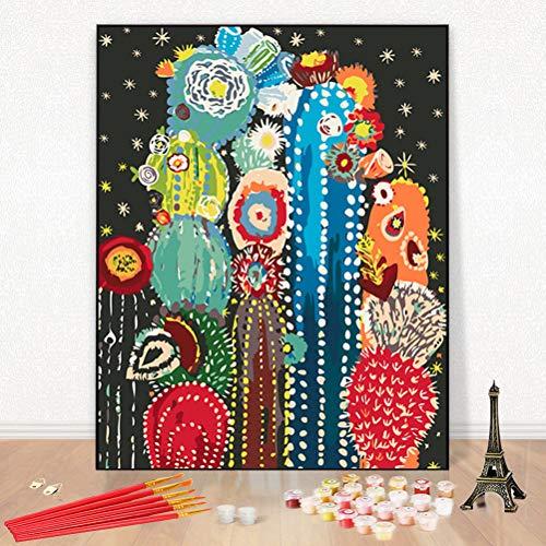 Dipingere con i Numeri, DIY Acrilico Dipinto Kit per Adulti e Principianti con 6 pennelli (Cactus, 16x20inch/40x50cm)