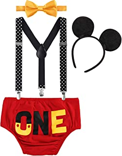 Cake Smash Mickey Outfit Baby Boy First Birthday Party Bottoms Bowtie Y-Back Suspenders Photography Props 3pcs Clothes Set