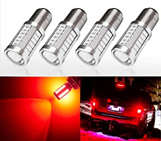CYTHERIA 2800lm 3156 3157 LED Lights Bulbs Xtreme Super Bright 1157 3056 4057 4157 3457K 3057 LED Bulb 5730 33-SMD Dual Back-Up Reverse, Turn Signal, Brake Stop Tail Lights,  6000K Xenon White (Red)