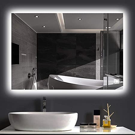Amazon Com Hans Alice Bathroom Backlit Mirror 36 X 28 Led Lighted Bathroom Mirror Dimmable Anti Fog Touch Screen Kitchen Dining