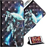 HMTECH Huawei Y3 2017 Case 3D Cute Wolf PU Leather Wallet