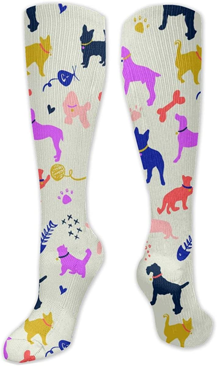 Cartoon Dog And Cat Knee High Socks Leg Warmer Dresses Long Boot Stockings For Womens Cosplay Daily Wear