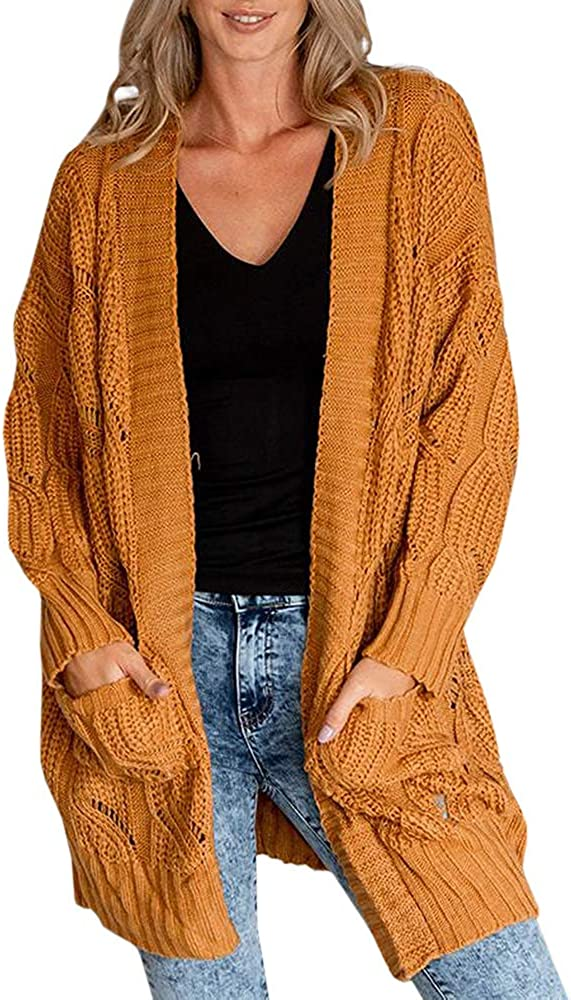 Yskkt Womens Boho Open Front Cardigans Sweaters Plus Size Cable Knit Long Sleeve Oversized Cloak Outerwear with Pockets