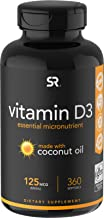 Vitamin D3 (5000iu/125mcg) Enhanced with Coconut Oil for Better Absorption ~ Non-GMO & Gluten Free (360 Mini Liquid Softgels)